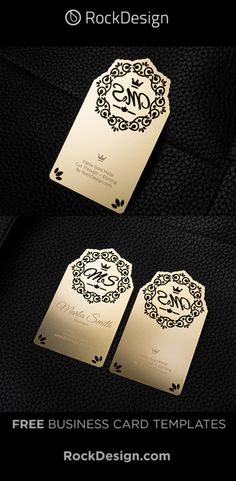FREE Beautiful Matte Gold with Cut-Through Business Card Template - Marla Smith Business Pens, Metal Business Cards, Gold Business Card, Business Card Case, Business Card Design, Free Business Card Templates, Logo Templates, High Quality Business Cards, Websites Like Etsy