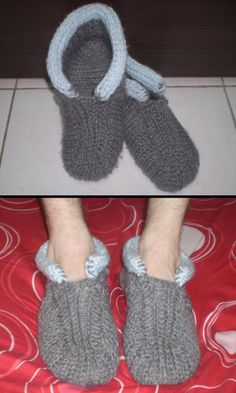 My second loom knitting project - Men's Cabin Slippers
