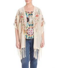 Johnny Was, Plus Size Peacock Fringe-Trimmed Kimono (€310) ❤ liked on Polyvore featuring plus size women's fashion, plus size clothing, plus size intimates, plus size robes, apparel & accessories, sheer fringed kimono, kimono robe, sheer kimono, embroidered robes and womens plus size robes