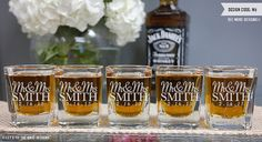Personalized Bridesmaid Gift - (ONE) Custom Engraved Square Shot Glass - Personalized Wedding Gift - Personalized Wedding Favor by LetsTieTheKnot