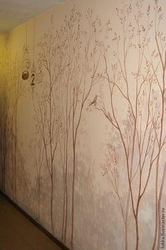 Декор поверхностей ручной работы. Ярмарка Мастеров - ручная работа Роспись стен в коридоре Лес. Handmade.