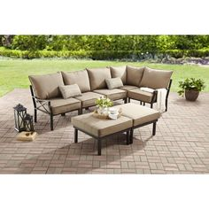 Mainstays Sandhill 7 Piece Outdoor Sofa Sectional Set, Seats 5   Walmart.com