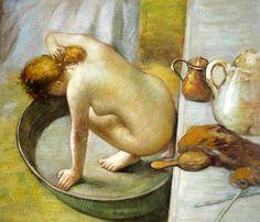 Degas, La tina (1886) Da dos puntos de vista, la balda y la mujer (cubismo)
