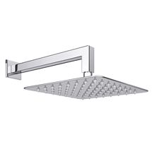 Milan Ultra Thin Square Shower Head with Wall Mounted Arm - 200x200mm £45