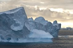 Group of icebergs in a stormy sky in the Antarctic Sound Antarctic Peninsula