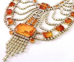 Orange Rhinestone Statement Necklace  Autumn Harvest Retro Mad Men Party Jewelry
