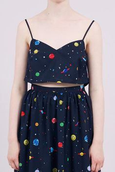 Strappy Crop Top Space Print