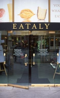 Eataly | New York #restaurant #cafe #shop #window Essenza di Riviera : natural organic olive skin care on www.varaldocosmetica.it/en