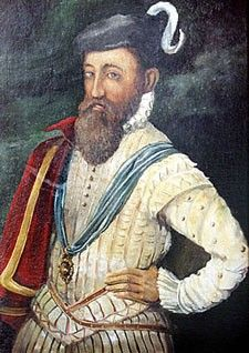 A portrait of Sir John Perrot. Guild of St. Matthias. Perrot (1528 –1592) served as Lord Deputy of Ireland under Queen Elizabeth I. He boisterously claimed to be the illegitimate son of Henry VIII. His claim was most likely dubious. Eventually, Perrot's flamboyant & offensive personality detracted from his accomplishments, and Elizabeth I grew tired of him. He became involved in questionable activity, and was subsequently charged with high treason. He died imprisoned in the Tower.-BB