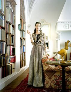 Emilie Jean, photographed in vintage Geoffrey Beene and jewelry from her own collection, in the New York home she shares with Ian Irving, who specializes in antique silver. -- Photograph by Ben Hoffman