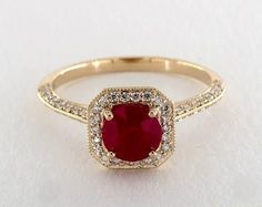 1.4ct Ruby Halo Engagement Ring in Yellow Gold - See it in 360 HD SuperZoom!