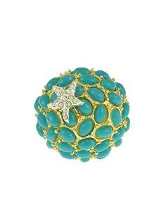 turquoise gold starfish ring