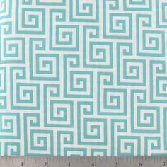 Turquoise & White Greek Key Apparel Fabric