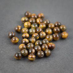 Lot de 6 pcs - perles rondes • œil-de-tigre • jaune, marron • veinées, couleurs naturelles • 8mm