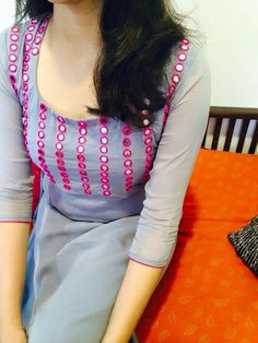 Grey and pink mirror work kurta