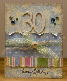 Shabby Birthday Cardwith Cardboard Number For The Years Old Torn Edges