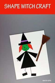 Shape witch craft for preschoolers, kindergartners and older kids to make for Halloween. Craft with circle, triangle, rhombus, rectangle. #shapewitchcraft #halloweenshapecraft #halloweenwitchcraft #shapecraft #witchcraftforkids #witchcraftpreschool Halloween Activities For Toddlers, Craft Activities, Preschool Crafts, Halloween Arts And Crafts, Halloween Kids, Easy Crafts For Kids, Crafts To Make, Googly Eye Crafts, Ghost Crafts