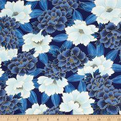 Oriental Traditions Metallic Spaced Floral Indigo $10.98/y Designed by Studio RK for Robert Kaufman