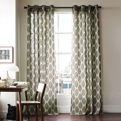 dining room curtains | ikat ogee linen window panel | west elm $108