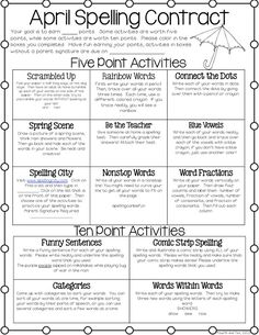 "Love it, ladies! It's great to work with such amazing teachers! ""April Spelling Contract Freebie.  An idea for using spelling centers next year?"""