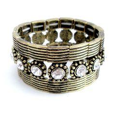 Antique Gold Vintage Rhinestone Stretch Bracelet. $12 #gift #bracelet #jewelry #cuff #rhinestome #gold #vintage