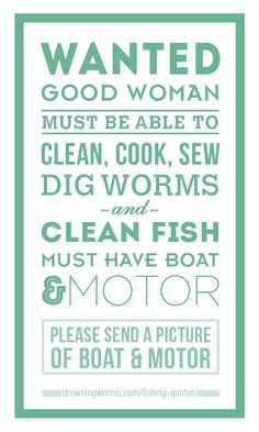 Wanted: good woman!