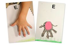 Have them color a backdrop, stamp their hand, add ear, eye, and tail.  E is for _____________
