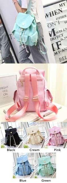 Sweet Candy Canvas College Rucksack Mint Green Pure Color Girls Backpack for big sale! #green #candy #sweet #school #backpack #bag #college #student #girl #travel #rucksack