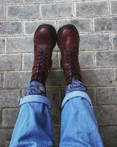 DOC'S & SOCKS: The 1460 boots in cherry red, shared by ciphersmigrane.