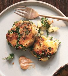 potato and kale cakes.  Make with sweet potato and coconut oil instead of butter and oil to make it healthy and full of vitamins.  Will make someday when I don't live in a hotel room.