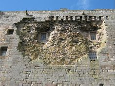 Cannon damage to Borthwick Castle - Last place of refuge for Mary Queen of Scot's. Damage by Cromwell. Scotland Castles, Scottish Castles, Land Of The Brave, Mary Queen Of Scots, Tudor History, Medieval Town, Interesting History, British Isles, Victorian Homes