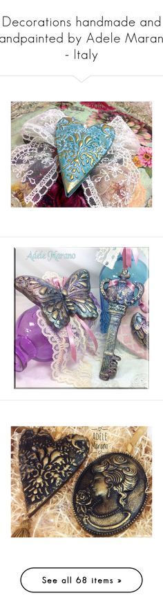 """""""Decorations handmade and handpainted by Adele Marano - Italy"""" by adelemarano on Polyvore featuring home, home decor, ceramic home decor, holiday decorations, etsyfru, white home decor, handmade home decor, small item storage, heart home decor e writing box"""