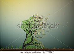tree stretching his face to the last summer sun but autumn is coming and leaves start falling, tree soul, plant surrealism icon, - stock vector