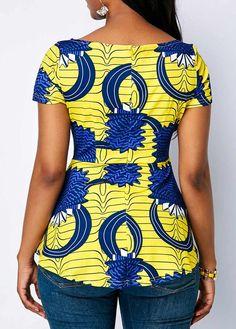 Boat Neck Printed Short Sleeve Blouse Boat Neck Printed Short Sleeve Blouse - Trend Way Dress African Fashion Designers, African Fashion Ankara, Latest African Fashion Dresses, African Print Fashion, Africa Fashion, African Dresses For Women, African Print Dresses, African Attire, African Blouses