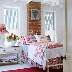 Fox Hollow Cottage - adorable bedroom with pops of red, white and blue.