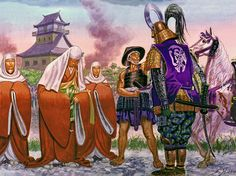 """Ginchiyo, the warrior Nun of Yanagawa, receives the thanks of her ex-husband Tachibana Muneshige, 1600"""