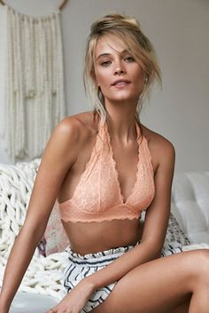 Galloon Lace Halter Bra   Free People Stretchy and soft lace halter bralette with plunging neckline.