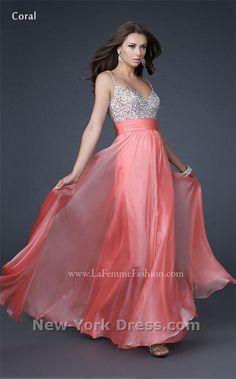 --CORAL-- La Femme 16802 Dress - NewYorkDress.com
