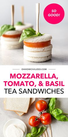 So good, so simple, super bite-sized! These mozzarella, tomato, and basil tea sandwiches are the perfect bite-sized treats for tea time, baby and bridal showers. They're also really easy to make - no cooking whatsoever involved! Click to learn the whole recipe. Hot Tea Recipes, Whole Food Recipes, Snack Recipes, High Tea Sandwiches, Finger Sandwiches, Basil Tea, Tea Time Snacks, Brewing Tea, Sandwich Recipes