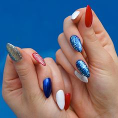 patriotic stiletto nails – red white and blue manicure – Memorial Day and July – Care – Skin care , beauty ideas and skin care tips White Manicure, White Nails, White Glitter, Almond Shape Nails, Almond Nails, Dark Nails, Blue Nails, 4th Of July Nails, July 4th