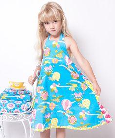 Look at this #zulilyfind! Teal & Pink Up Up & Away Halter Dress - Infant, Toddler & Girls #zulilyfinds