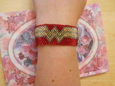 Beaded Wonder Woman bracelet - received from smashu in Craftster's September Pinterest swap :)