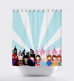 Superhero princess shower curtain, blue and pink, princess shower curtain, superhero shower curtain, Girl Bathrooms, Bathroom Kids, Kids Bath, Shared Bathroom, Small Bathroom, Superhero Bathroom, Pink Shower Curtains, Pink Showers, Jack And Jill Bathroom