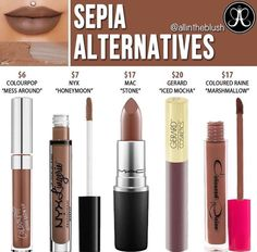 Anastasia Beverly Hills Sepia Liquid Lipstick Dupes - All For Hair Color Trending Abh Liquid Lipstick Dupe, Eyeshadow Dupes, Nyx Dupes, Lipsticks, Nyx Cosmetics, Gerard Cosmetics Lipstick, Anastasia Beverly Hills Sepia, Beauty Dupes, Beauty Tips