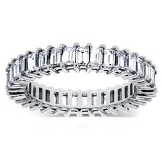 Shop for Annello by Kobelli 14k White Gold 3 1/4ct TDW Baguette Diamond Eternity Ring (G-H, VS1-VS. Get free delivery at Overstock.com - Your Online Jewelry Shop! Get 5% in rewards with Club O!