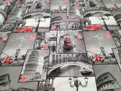 """#tessuto #arredamento tema """"cartoline #città"""" Composizione 70% #cotone e 30% poliestere"""