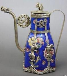 Chinese Blue Porcelain Dragon Leopard Tea Pot | Collectibles, Cultures & Ethnicities, Asian | eBay!