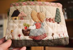 So Sweet Sun Bonnet Picnic Sue Bag Purse Personalized Appliqued Quilted Handmade Girls' Mini Shoulder Bag Birthday Gift Special Gift Name Embroidery, Embroidery Designs, Sunbonnet Sue, Quilted Shoulder Bags, Applique Fabric, Unique Birthday Gifts, Handmade Journals, Quilt Patterns Free, Special Gifts