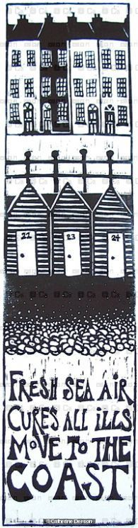 Sea air cures all ills  - Linocut by Cath Deeson