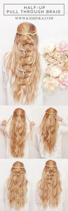 Half-up Pull Through Braid Hair Tutorial / http://www.himisspuff.com/easy-diy-braided-hairstyles-tutorials/